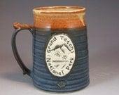 Wheel Thrown Grand Teton National Park Mug in Croc Blue and Shino (tan brown) Glazes