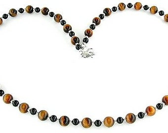 Tiger Eye Necklace with Black Onyx and Sterling Silver - Tigereye Jewelry