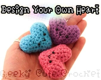 Custom Heart Amigurumi Crochet Kawaii Toy Keychain Necklace Design Your Own