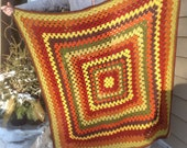 Harvest Spice Crocheted handmade cozy granny square Afghan Blanket- Ready to ship