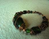 Dark Green and Copper Bracelet