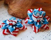 Thing 1 and Thing 2 Hair clips - Dr. Seuss Hair Clip - Teal and Red fabric flower hair clip