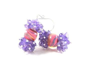 Amethyst Cluster Earrings, Purple Pink Glass Earrings, Gemstone Jewelry, Pastel Boro Lampwork Earrings, February Birthstone Jewelry - Rocks