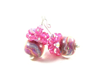 Bright Pink Purple Earrings, Rose Pink Crystal Earrings, Boro Lampwork Earrings, Special Occassion Colorful Glass Earrings- Cotton Candy