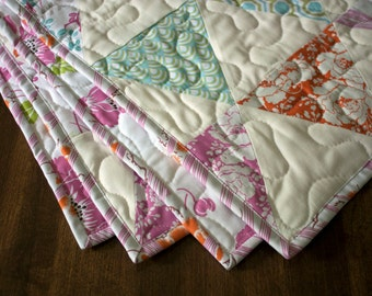 baby girl quilt dolce floral fabrics // modern baby quilt in pink orange aqua and white // READY TO SHIP