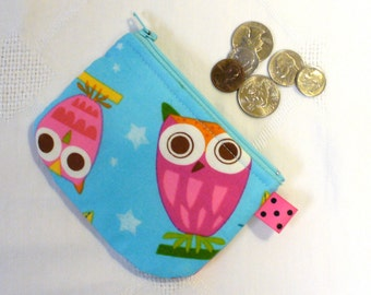 Mini Fabric Coin Purse On a Whim OWLS Zipper Change Purse Amy Schimler Turquoise Hot Pink Orange Handmade MTO