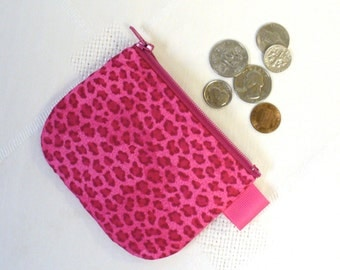 Fabric Coin Purse Hot Pink Cheetah Zipper Mini Change Purse Handmade Zip Wallet Animal Print Raspberry Pink MTO