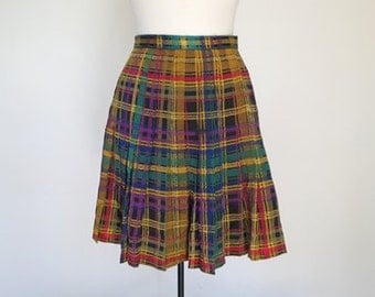 DRAMA CLUB // yellow plaid silk 90s pleated skirt S / M