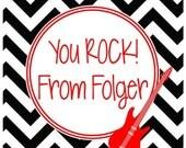 YOU ROCK Chevron Valentine Sticker, Tag, Enclosure Card - POP Rocks - Set of 24