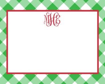 Christmas Preppy Green Gingham Notecard, Stationery or Invitation Set