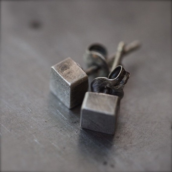 Petite, industrial square cubed sterling silver button stud earrings