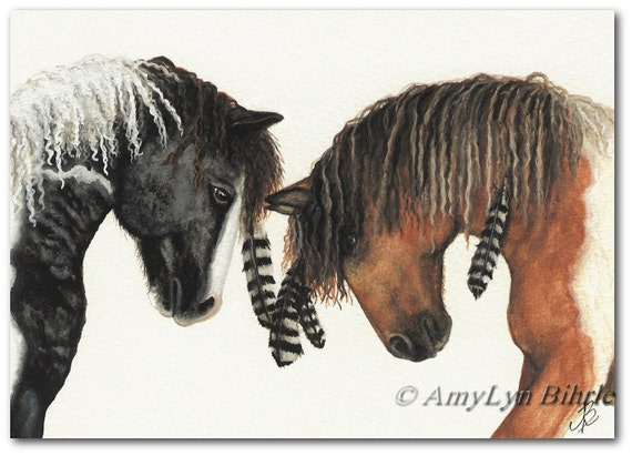 Majestic Horses 37 - Curly Hoses War Paint Native Feathers - ArT Prints or ACEO by Bihrle