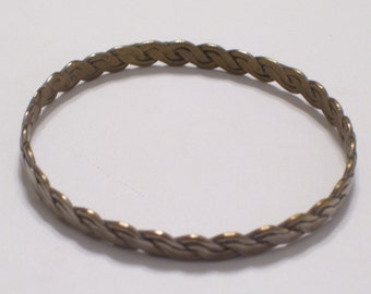 Vintage TAXCO Mexican Silver and Brass Twist Braid Bangle Bracelet