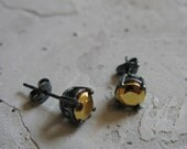 small black sterling silver stud earrings with 24k gold plated stone