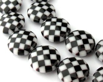 2pcs of 12mm Black and White Checkerboard Millefiori Glass Round Coin Beads