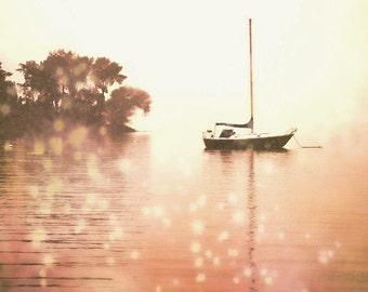 "Surreal sailboat pastel orange peach nautical vacation ocean dreamy water - ""Anchored"" 8 x 10"