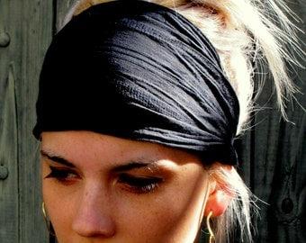 Black Textured Cotton Wide Headband Yoga Head Wrap Wide Headbands for Women