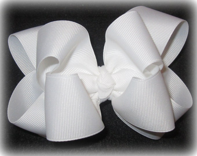 Hairbows, Large Hairbow, White Bow, Boutique Hair Bow, Girls Bows, Big Hair Bow, Double Layered Hair Bow, White Boutique hairbow, Large Bow