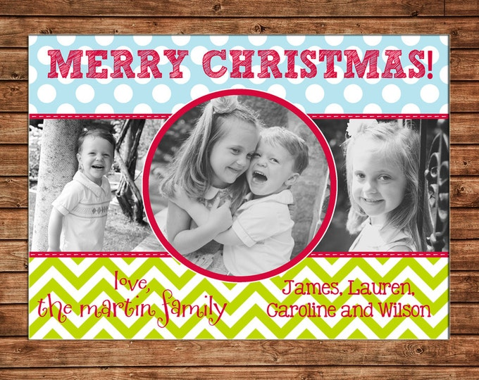 Photo Picture Christmas Holiday Card Chevron Polka Dot Fun Whimsical 3 pictures - Digital File