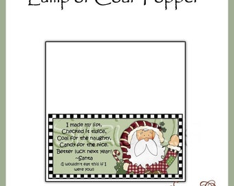 Lump of Coal Topper - Digital Printable Gag Gift - Good Craft Show Seller - Immediate Download