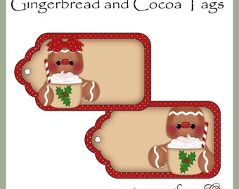 Gingerbread and Cocoa Tags - CU Digital Printables - Immediate Download