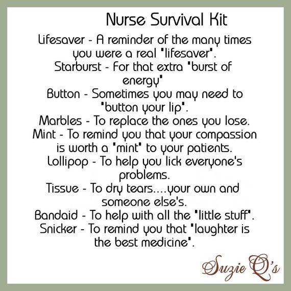 Nurse Survival Kit includes Topper and Card Digital | Etsy