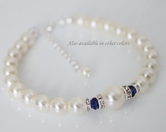 Dark Blue Bracelet, Bridesmaid Bracelet, Ivory Pearl and Navy Blue Bracelet, Swarovski White Pearl Bracelet, Wedding Bracelet
