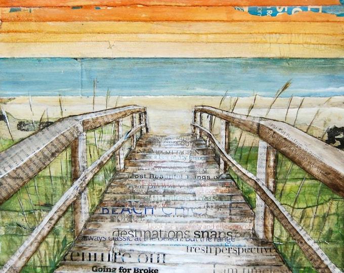 Featured listing image: BEACH ART PRINT, Canvas boardwalk dock,beach decor, summer gift, mixed media painting, coastal decor, coastal art,sunset, sunrise, All Sizes