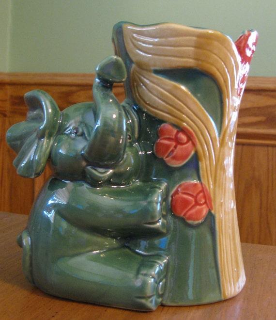 Vintage Green Baby Elephant Planter Vase
