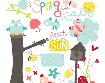 Spring is In Digital Clipart Clip Art Illustrations - instant download - limited commercial use ok
