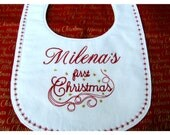First Christmas Baby Bib Personalized Embroidery Newborn to 12 Mo