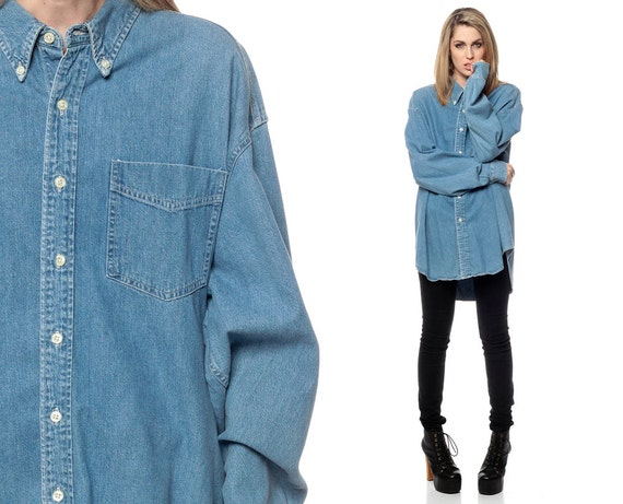 Oversized denim shirt 90s grunge gap blue jean oversize for Blue denim shirt for womens