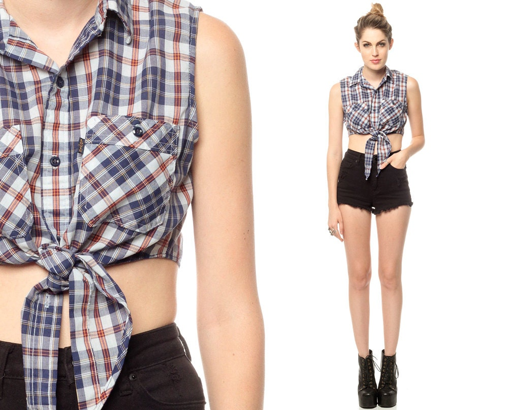 Plaid Crop Top Shirt 70s Blue Western Tie Waist Levis 1970s