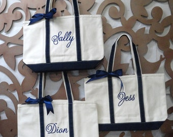 Personalized Monogrammed Canvas Tote Bags, Bridesmaid Gift, Set of 12
