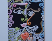 Original Abstract Aceo Faces Matte and Metallic Ink Bristol Cardstock Sized 3.5x2.5 Heather Montgomery Art