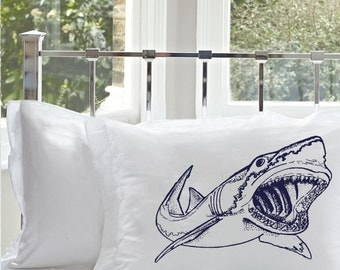 2 Two SHARK Pillowcase cover teeth jaws tooth WEEK NAUTICAL bull scary sharks room decor pillow case whale surfer navy blue fish sailor
