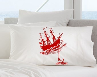 Two (2 for 20) Red Nautical Tall Clipper Ship Boat Anchor covers SAILBOAT PILLOWCASE sail Pillow case decor deco bedroom gift bedding