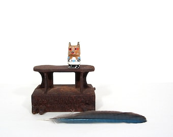 Miniature Painted Fox Animal Totem Vintage Carved Wood Animal Figurine