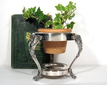 Vintage Silver Planter Plant Stand Pedestal Display Indoor Garden