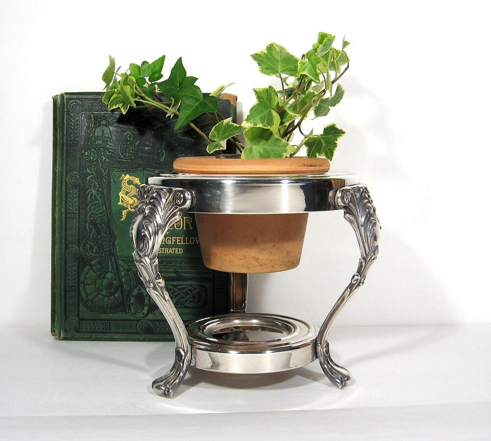 Vintage silver planter plant stand pedestal display indoor - Plant pedestal indoor ...