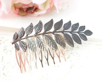 Leaf Branch Hair Comb - Woodland Collection - Whimsical - Nature - Bridal - Patina