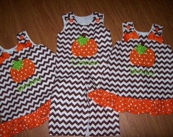 Custom BOUTIQUE Personalized Chevron Halloween Thanksgiving Pumpkin 3 child Brother Sister set romper and dress