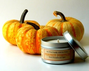 Pumpkin Spice Scented Soy Candle Tin / 6 oz Home Decor /  Pumpkin Pie Scent Holiday Candles