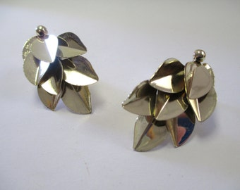Vintage 1960's Gold-Tone Sculptural Clip On Earrings DEADSTOCK