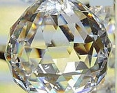 30mm Chandelier Crystal Prism Faceted Ball - Faceted 30mm Crystal Ball - Asfour FULL LEAD Crystal (S-17)
