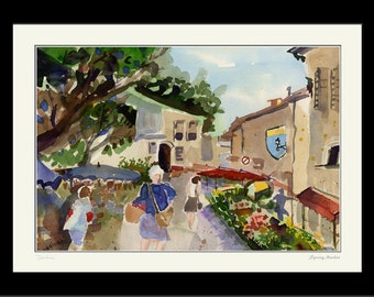 Spring Market  - Framed Limited Edition Watercolor Print