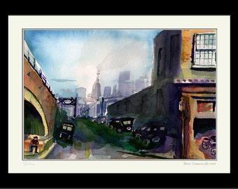 Philadelphia Commerce Street 1925 -  - Framed Limited Edition Watercolor Print