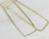 Ophelia handmade earrings in gold filled long rectangles, hammered earrings
