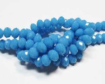 LOOSE Glass Beads - Glass Crystal Beads - 4.5x6mm Rondelles - Opaque Turquoise Blue (12 beads) - gla682