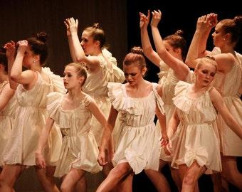 Ruffled Dance Dress / Ivory or White Womens Bow Patisserie Performance Custom Ballerina Dance